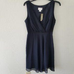 J. CREW Dress Size 6 Navy 100% Silk Lined Zip New